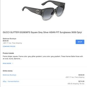 47e2e901deb Gucci Accessories - GUCCI GREY  SILVER GLITTER SUNNIES